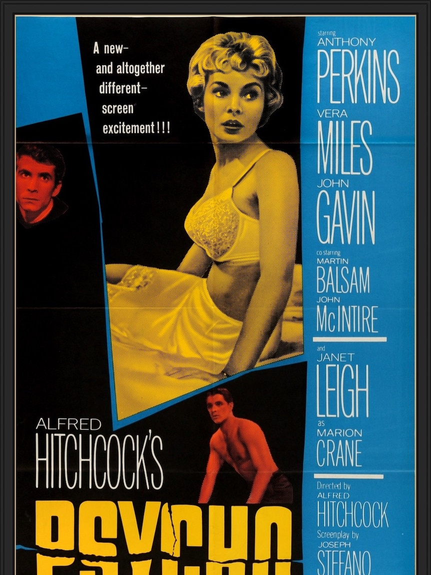 A woman sits in a bra on a bed in a film poster, while actors names are listed down the side