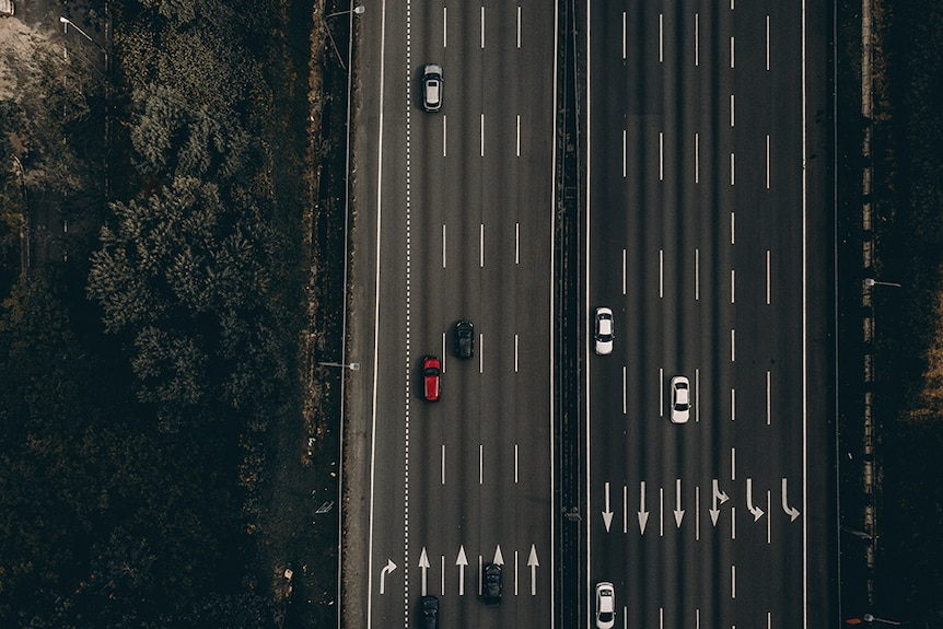 Cars on a highway.