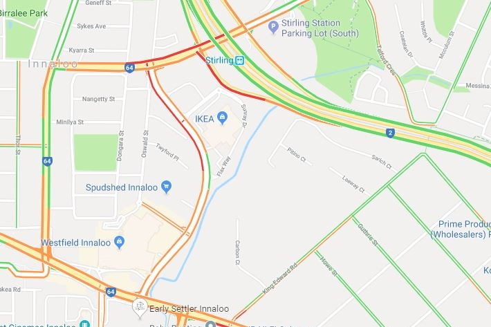 The Mitchell Freeway offramp at Cedric Street in Innaloo on Google Maps.