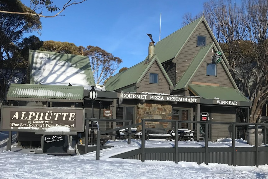 A lodge-style restaurant in snow