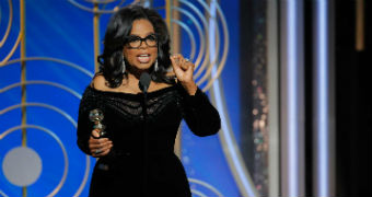 Oprah delivers a speech at the Golden Globe Awards.