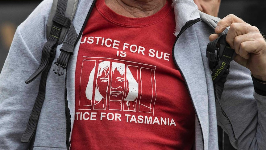Susan Neill-Fraser supporter wearing a t-shirt outside her appeal hearing in Hobart.