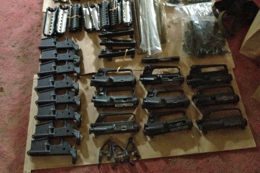 Gun parts found by police during a raid on the mid-north coast, April 13th 2012.