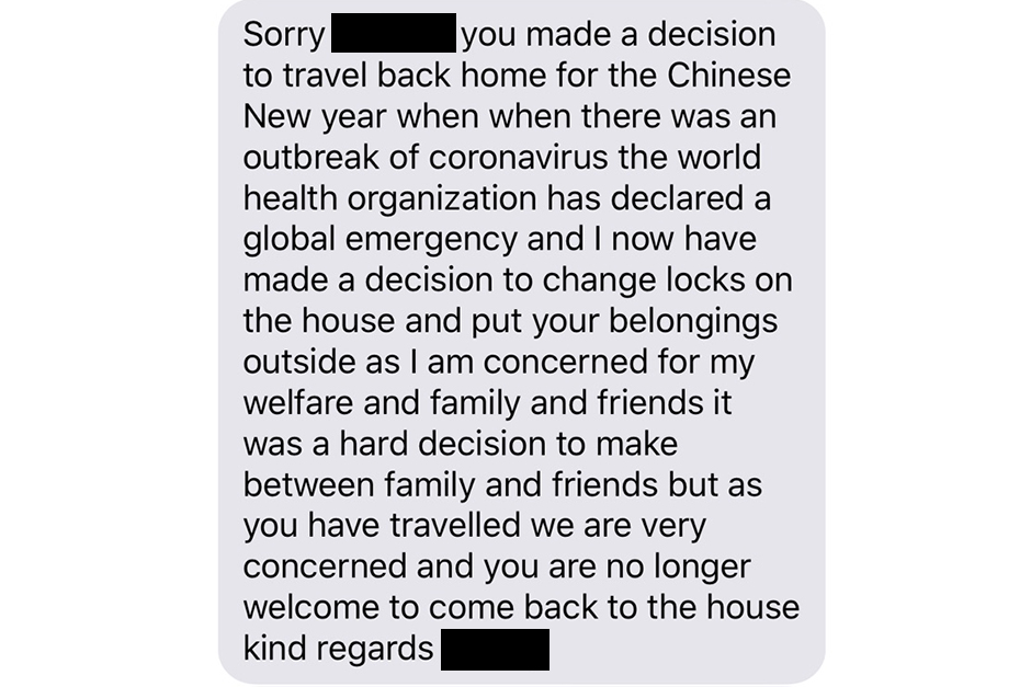 A grey text message on a white background.