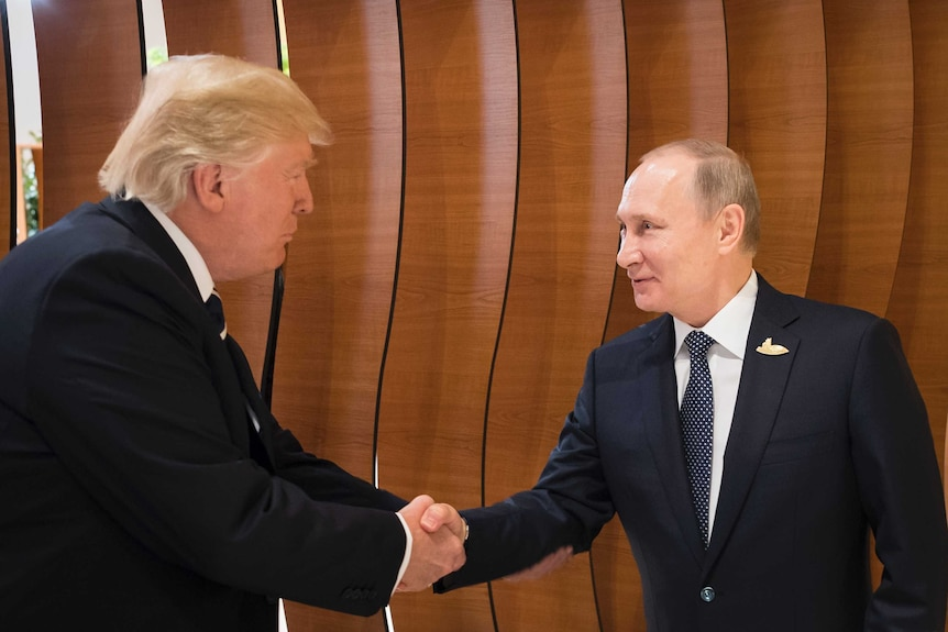 Donald Trump shakes hands with an excited looking putin in the foyer