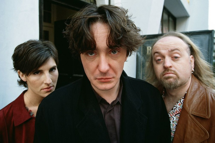 The cast of Black Books —Tamsin Greig, Dylan Moran and Bill Bailey.