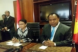 Indonesian foreign minister Retno Marsudi and her PNG counterpart Rimbink Pato speak to the media in Port Moresby