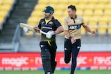 Trent Boult and Matthew Wade run alongside each other during a Twenty20 international in Wellington.