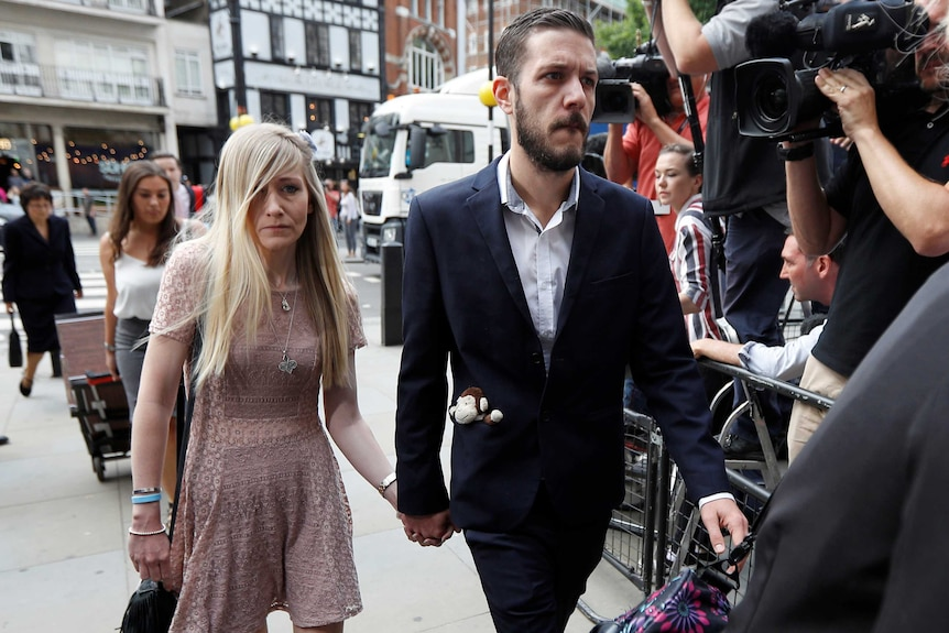 The parents of critically ill baby Charlie Gard, Connie Yates and Chris Gard arrive at the High Court in London.