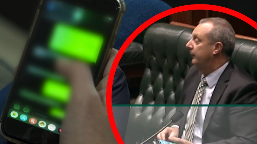 A woman texting, Michael Johnsen holding his phone in parliament.