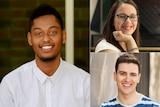Australian winners of the 2017 Queens Young Leaders Award Abdullahi Alim, Madeleine Buchner, Jordan O'Reilly