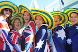 Girls get into Australia Day mood in Melbourne.