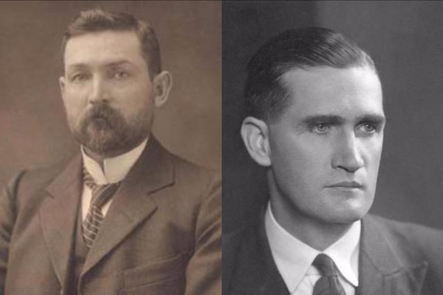 Headshots of former prime ministers Chris Watson and John McEwan.