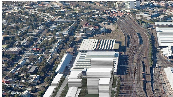 An artist's impression of the North Eveleigh precinct from above.