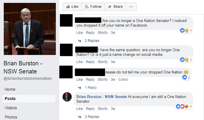 """Brian Burston's Facebook page shows comments including one from him that says """"Hi everyone I am still a One Nation Senator"""""""