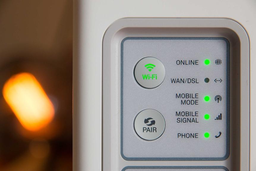 A close up of a Wi-Fi modem