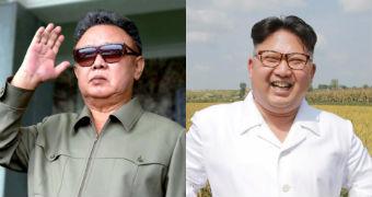 Composite image of North Korean leaders Kim Jong-il and Kim Jong-un