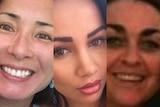 Composite of three women's faces
