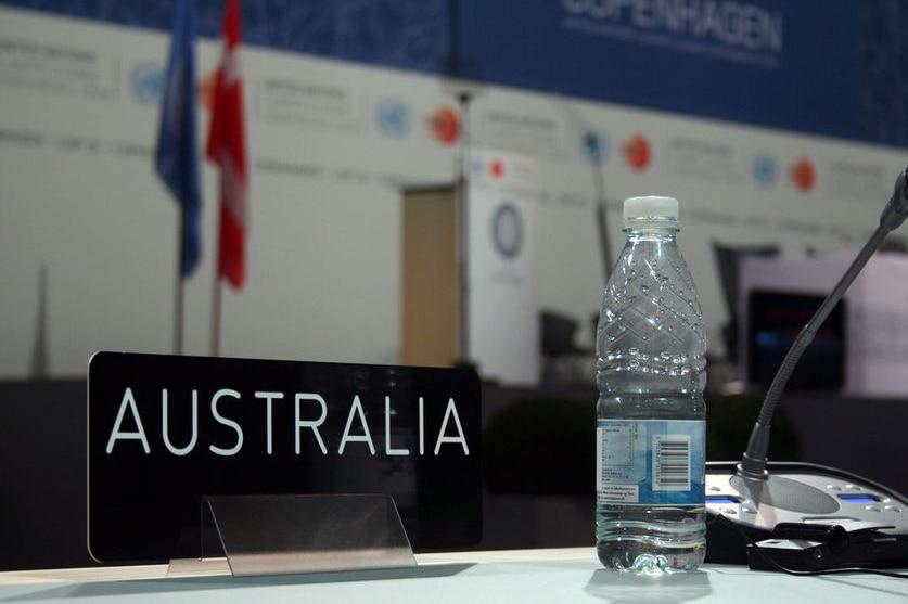 Australia's table at the United Nations Climate Talks in Copenhagen, 2009. (Australian Science Media Centre)