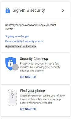 A screenshot of Google account tools.