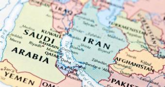 Map of Saudi Arabia and Iran