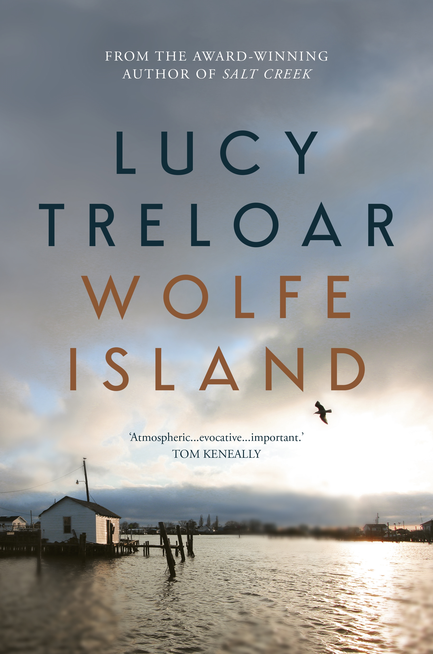 The cover for the book Wolfe Island by Lucy Treloar featuring an old house on a jetty