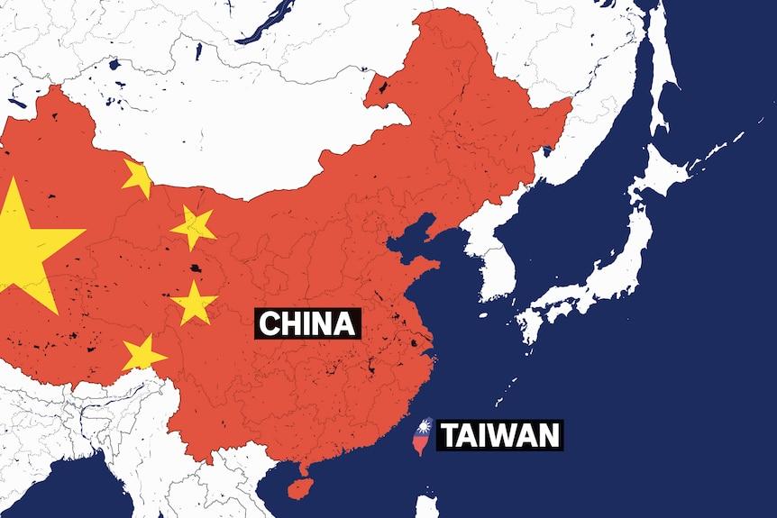 一张地图显示中国和台湾的领土,领土范围内有各自的旗帜