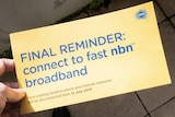 """A letter saying """"final reminder: connect to fast NBN broadband."""