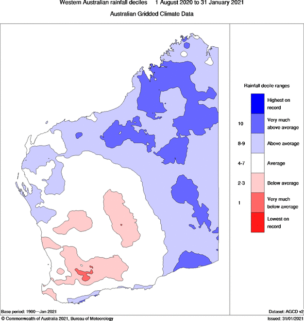 A map showing dry conditions in south-west Western Australia.