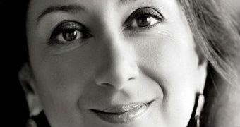 A black and white close-up of journalist Daphne Caruana Galizia.