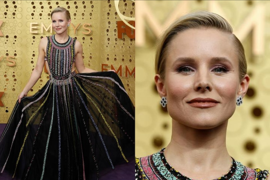 Kristen Bell holds her black sheer dress up for the cameras and smiles in a close up in a composite image.