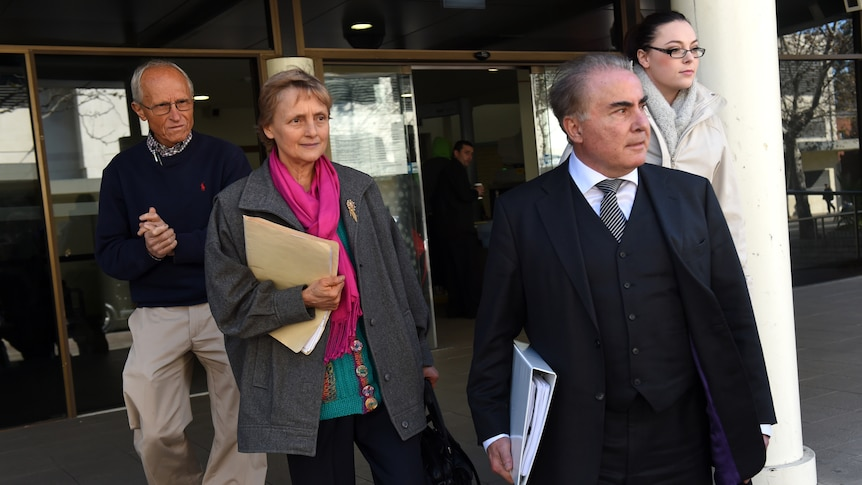 Naturopath Marilyn Bodnar leaves Fairfield Local Court with her legal team.