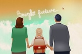 An illustration of a family holding hands, looking at skywriting that reads 'Bright future'