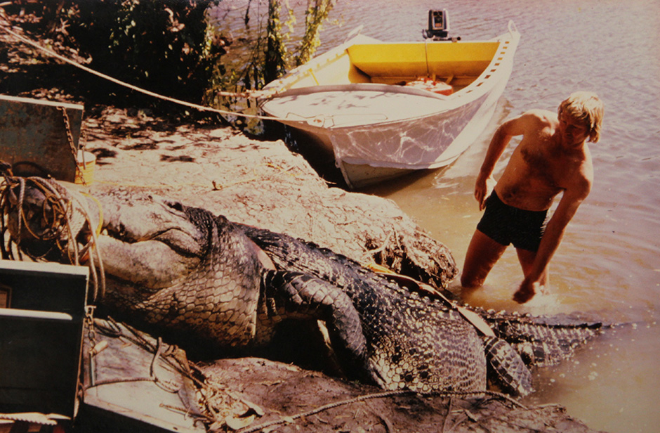 A man stands near the very large crocodile called Sweatheart, which has been tied up on a riverbank.