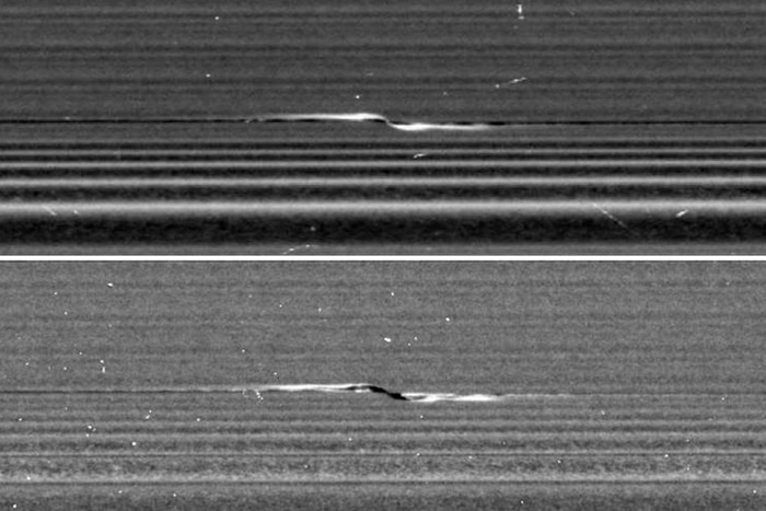 Propellers are disturbances produced by small moon-like clumps of ice embedded in Saturn's rings.