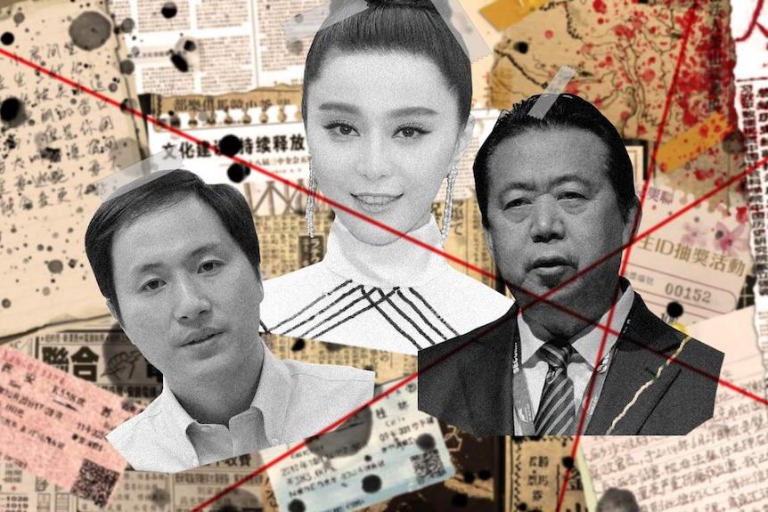 A collage of He Jiankui, left, Fan Bingbing, centre, and Meng Hongwei.