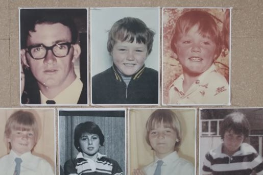 individual photos of a man wearing glasses and six young boys
