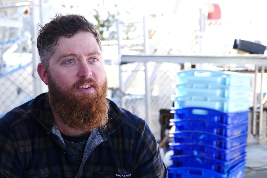 Tyson Pollard sitting in front of plastic crates and traps for catching octopus.