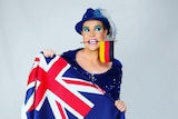 Cabaret star Hans with both Australian and German flags.