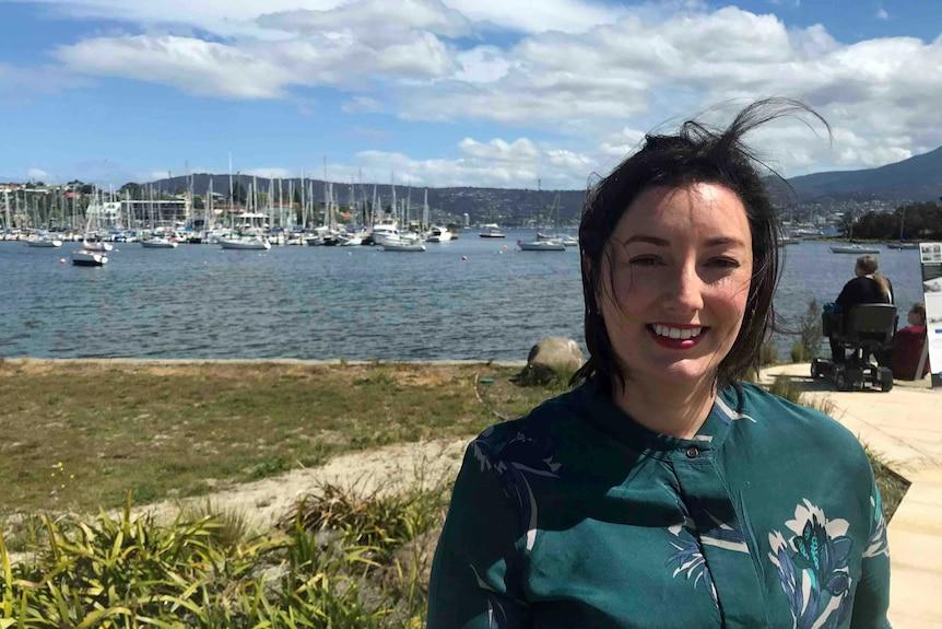 Labor candidate Jo Siejka stands on Hobart's eastern shore
