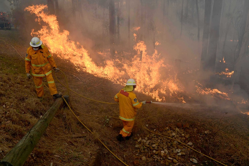 RFS volunteers conduct property protection as a bushfire comes within metres of homes west of Sydney.