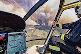 The Kangaroo Island fire visible from a helicopter.