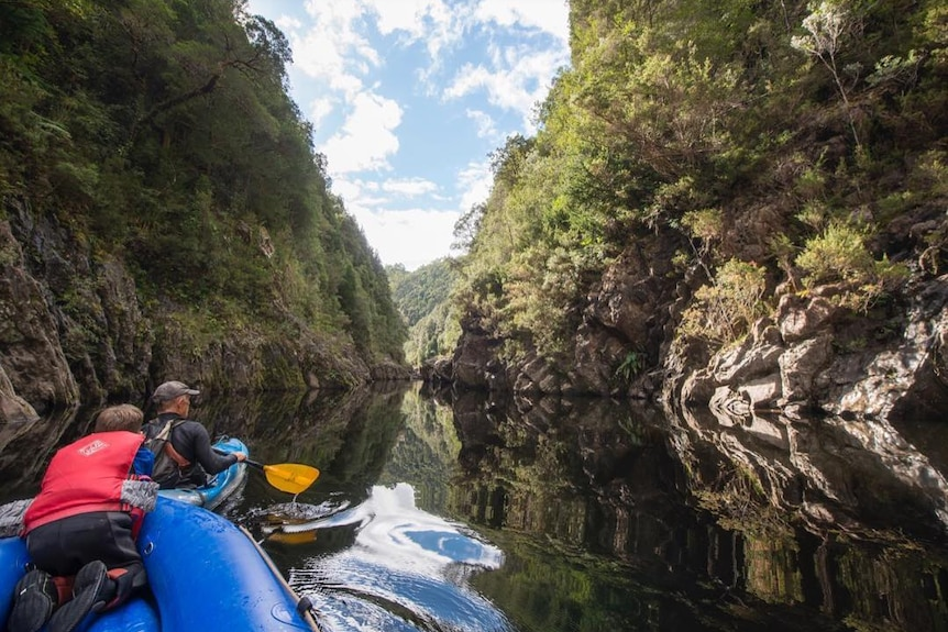 Kayaking in a gorge, surrounded by bushland