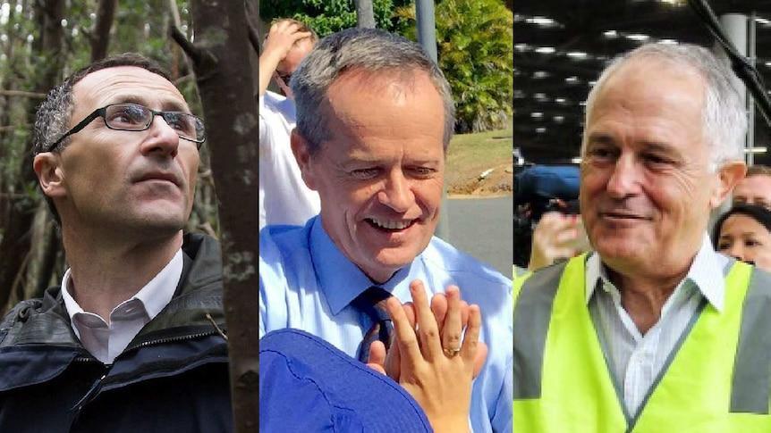 Richard Di Natale, Bill Shorten and Malcolm Turnbull