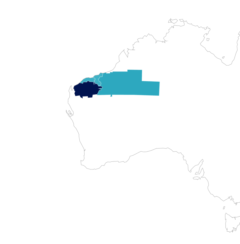 Map showing top LGAs in Northern Western Australia.