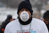 Protester in Flint, Michigan