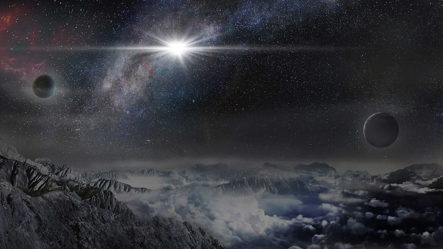 Artist's impression of the superluminous supernova ASASSN-15lh as seen form a planet 10,000 light-years from the blast.