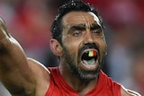 Adam Goodes calls for the ball against North Melbourne