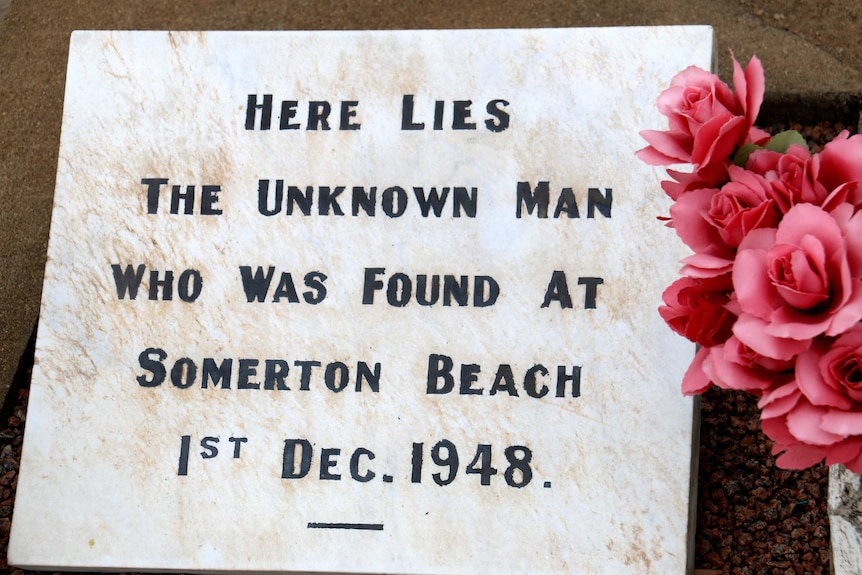The Somerton Man's grave and headstone in Adelaide's West Terrace cemetery.