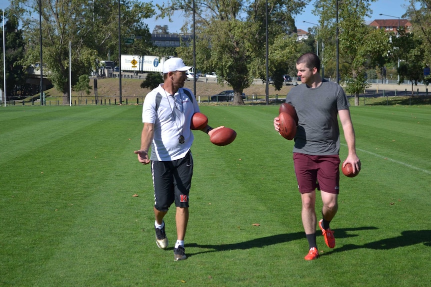 Punter Jordan Berry and training coach Nathan Chapman have worked together for years.